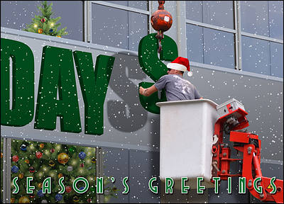 Sign Install Christmas Card (Glossy White)