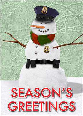 Snowman Police Christmas Card (Glossy White)