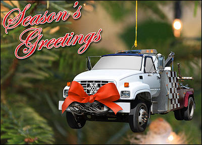 Tow Truck Ornament (Glossy White)