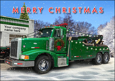 Towing Truck Christmas Card (Glossy White)