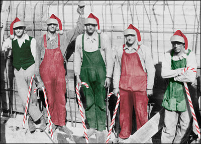 Workers with Candy Canes (Glossy White)