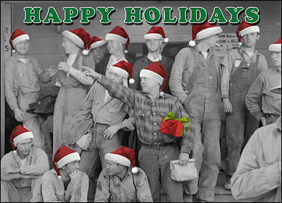Workforce Laborers Christmas Card (Glossy White)
