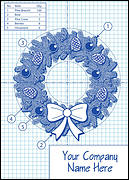 Wreath Blueprint Christmas Card