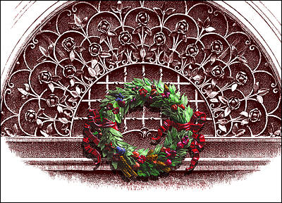 Wreath on Grillwork (Glossy White)